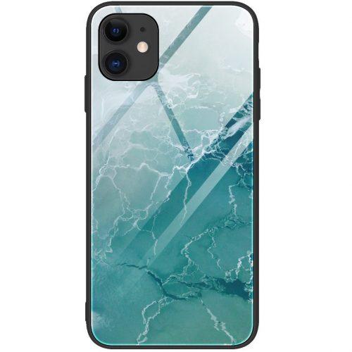 Apple iPhone 7 / 8 / SE (2020), Szilikon védőkeret, edzett üveg hátlap, márvány minta, Wooze FutureCover, világoszöld