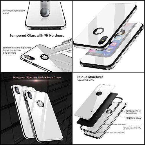 Apple iPhone X / XS, Szilikon védőkeret, edzett üveg hátlap, márvány minta, Wooze FutureCover, fekete/színes