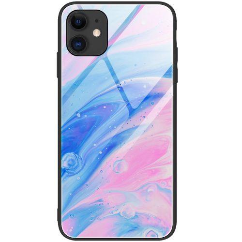 Huawei P30 Lite, Szilikon védőkeret, edzett üveg hátlap, márvány minta, Wooze FutureCover, rózsaszín/kék