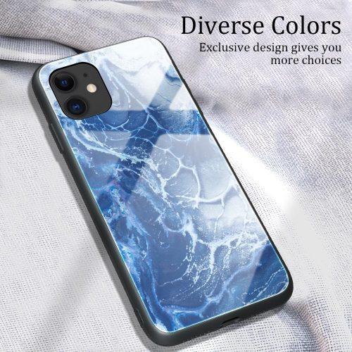 Huawei P Smart (2019) / Honor 10 Lite, Szilikon védőkeret, edzett üveg hátlap, márvány minta, Wooze FutureCover, kék