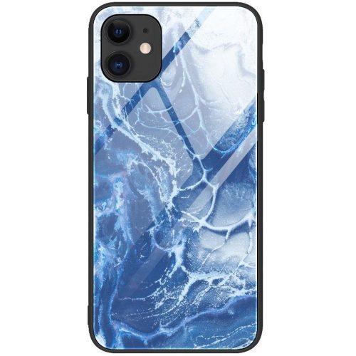 Xiaomi Mi 10 5G / 10 Pro 5G, Szilikon védőkeret, edzett üveg hátlap, márvány minta, Wooze FutureCover, kék