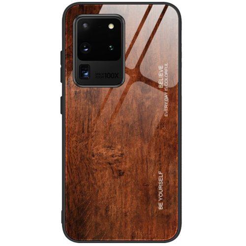 Apple iPhone 6 / 6S, Szilikon védőkeret, edzett üveg hátlap, fa minta, Wooze Wood, barna