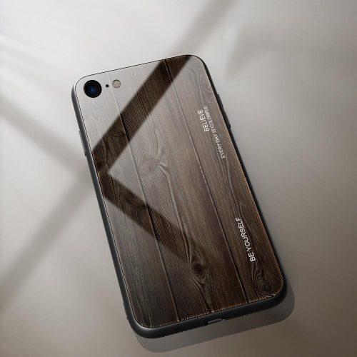 Apple iPhone 7 / 8 / SE (2020), Szilikon védőkeret, edzett üveg hátlap, fa minta, Wooze Wood, sötétbarna