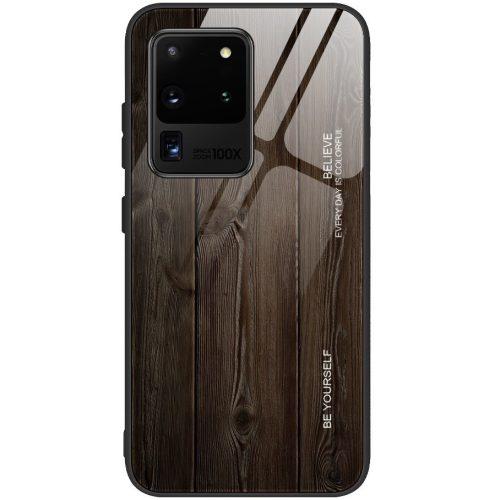 Apple iPhone X / XS, Szilikon védőkeret, edzett üveg hátlap, fa minta, Wooze Wood, sötétbarna