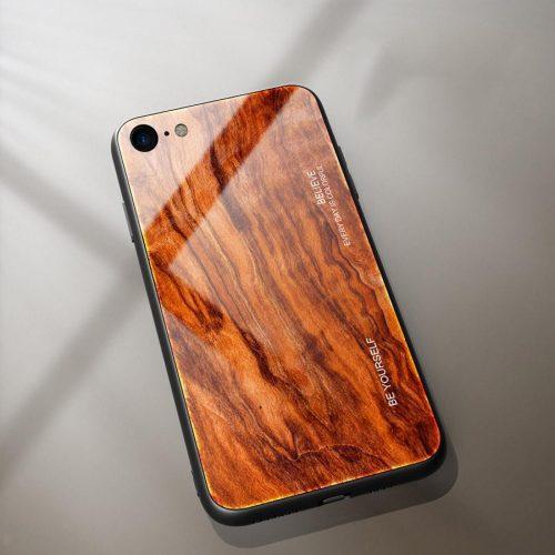 Apple iPhone X / XS, Szilikon védőkeret, edzett üveg hátlap, fa minta, Wooze Wood, rozsdabarna