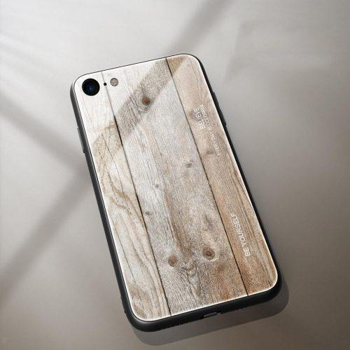 Apple iPhone X / XS, Szilikon védőkeret, edzett üveg hátlap, fa minta, Wooze Wood, világosbarna