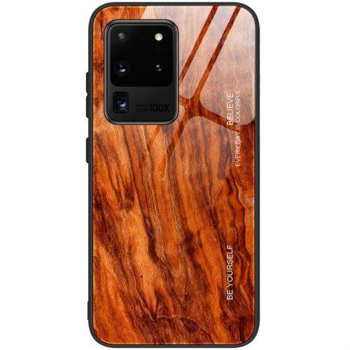 Huawei Honor 20 Lite / 20i, Szilikon védőkeret, edzett üveg hátlap, fa minta, Wooze Wood, rozsdabarna