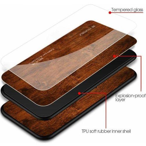 Huawei Honor 20 / 20S / Nova 5T, Szilikon védőkeret, edzett üveg hátlap, fa minta, Wooze Wood, sötétbarna