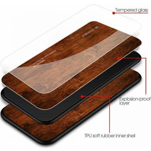 Huawei P20 Lite, Szilikon védőkeret, edzett üveg hátlap, fa minta, Wooze Wood, világosbarna