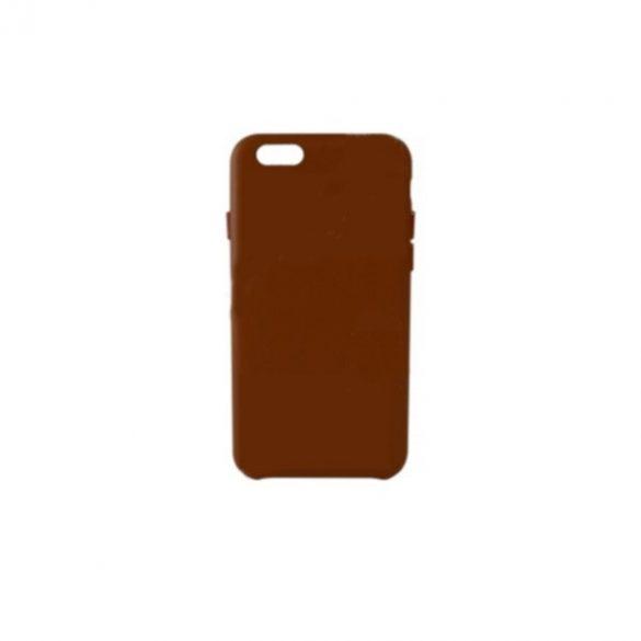 Apple iPhone 7 Plus / 8 Plus, Műanyag hátlap védőtok, bőrbevonattal, gyári jellegű, barna