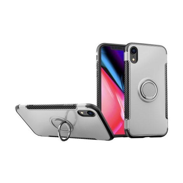 Apple iPhone 7 / 8 / SE (2020), Műanyag hátlap védőtok, szilikon keret, telefontartó gyűrű, karbon minta, ezüst