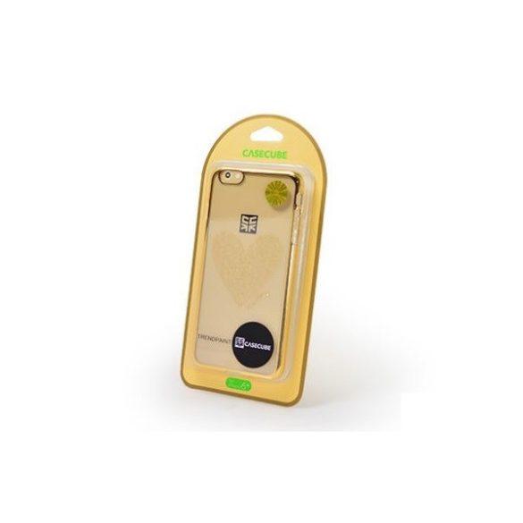 Apple iPhone 6 Plus / 6S Plus, Műanyag hátlap védőtok, szívminta, Casecube Trendpaint, átlátszó/arany