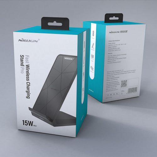 Univerzális vezeték nélküli töltő, Qi Wireless, asztali tartó, 15W, Nillkin Fast Pro, MC049, fekete