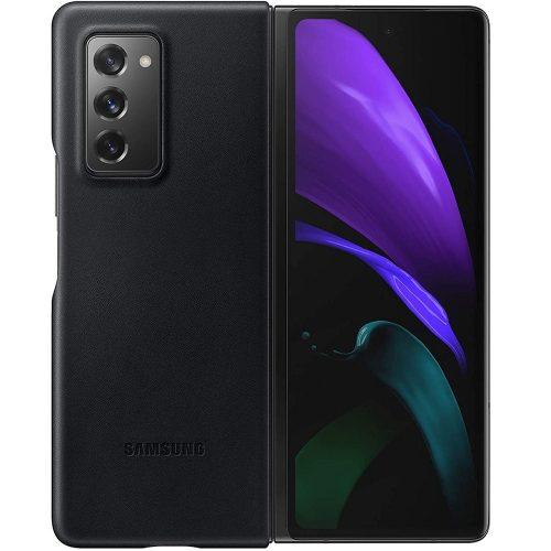 Samsung Galaxy Fold SM-F900F, Műanyag hátlap védőtok, bőr hátlap, fekete, gyári
