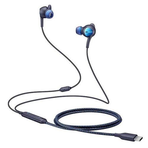 Vezetékes sztereó fülhallgató, USB Type-C, mikrofon, felvevő gomb, hangerő szabályzó, zajszűrővel, Samsung, fekete, gyári