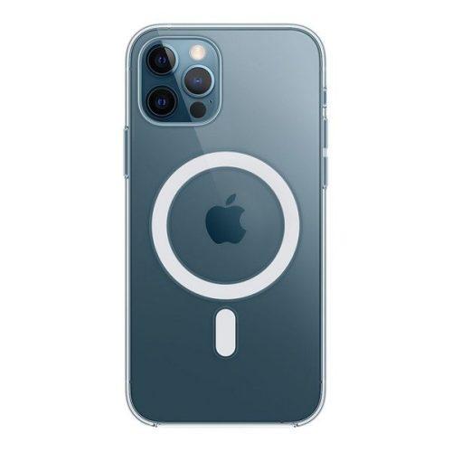 Apple iPhone 12 / 12 Pro, Műanyag hátlap védőtok, Magsafe kompatibilis, átlátszó, gyári