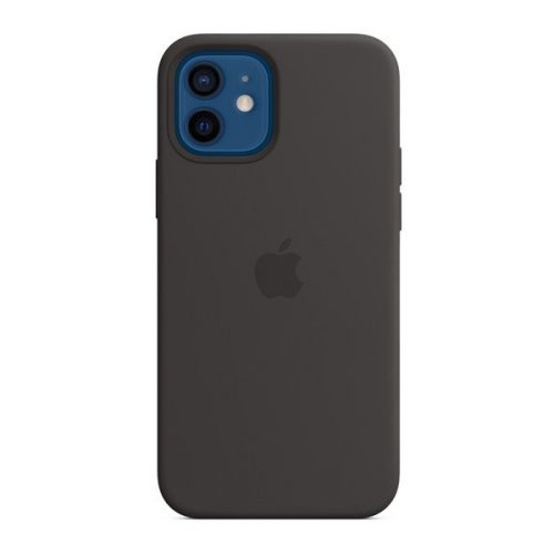 Apple iPhone 12 / 12 Pro, Szilikon tok, Magsafe kompatibilis, fekete, gyári