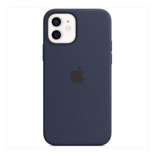 Apple iPhone 12 / 12 Pro, Szilikon tok, Magsafe kompatibilis, sötétkék, gyári