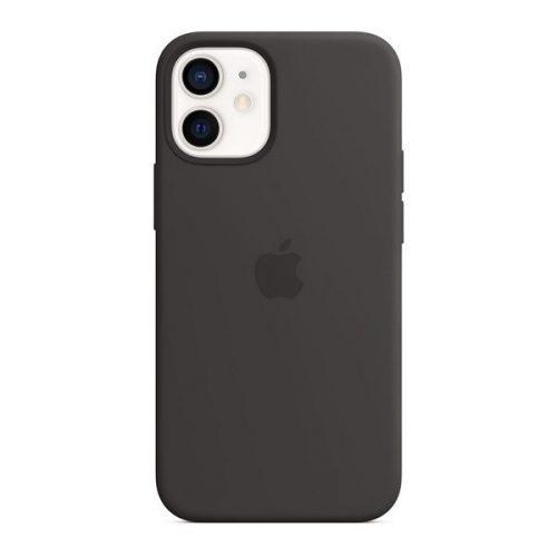 Apple iPhone 12 Mini, Szilikon tok, Magsafe kompatibilis, fekete, gyári
