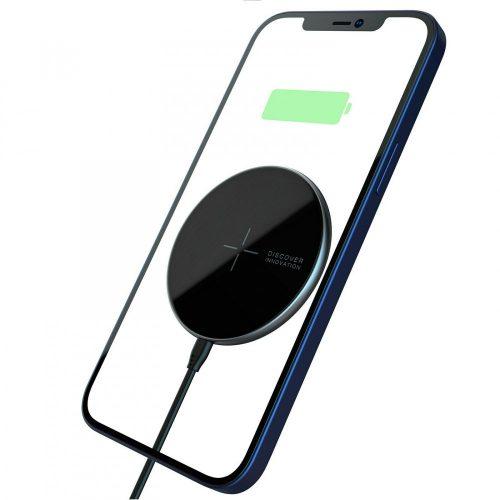 Apple iPhone 12 Mini / 12 / 12 Pro / 12 Pro Max, vezeték nélküli mágneses töltő, Qi Wireless, gyorstöltés, Magsafe töltő és tok kompatibilis, Nillkin MagSlim, fekete