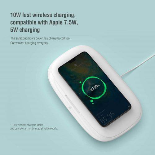 UV fertőtlenítő doboz és Qi wireless vezeték nélküli töltő, 10W, Nillkin FlashPure Pro NKT03, fehér