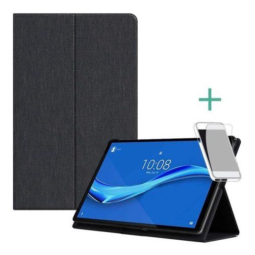 Lenovo Tab M10 Plus (10.3) TB-X606F, mappa tok, képernyővédő fóliával, stand, fekete, gyári