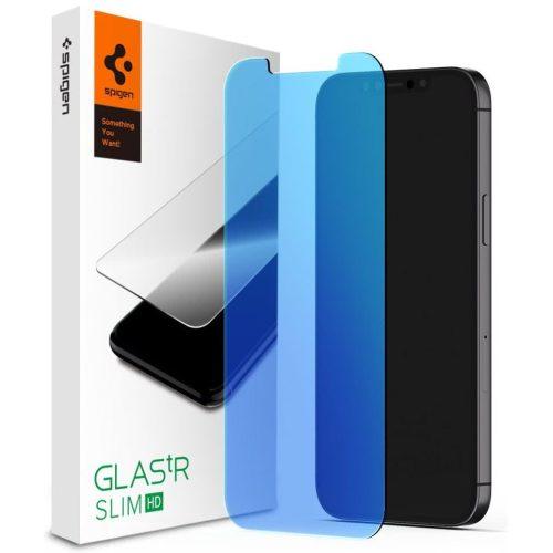 Apple iPhone 12 / 12 Pro, Kijelzővédő fólia, ütésálló fólia (az íves részre is!), Tempered Glass (edzett üveg), Spigen Glastr Slim HD Anti Blue, Clear