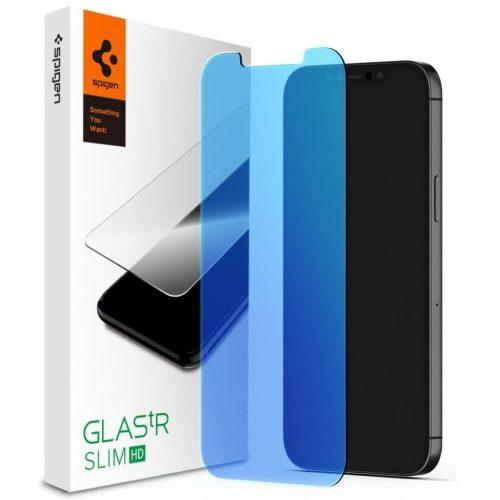 Apple iPhone 12 Mini, Kijelzővédő fólia, ütésálló fólia (az íves részre is!), Tempered Glass (edzett üveg), Spigen Glastr Slim HD Anti Blue, Clear