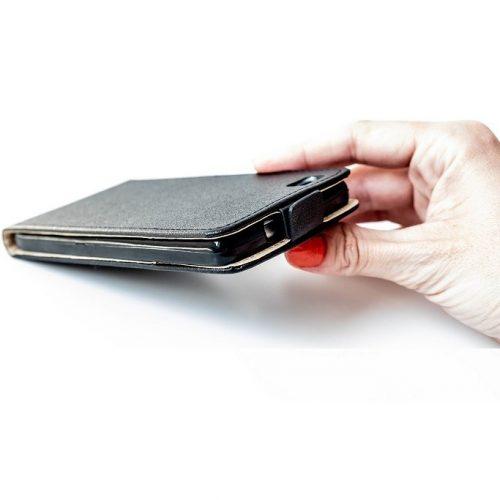 Huawei P40 Lite 5G, Forcell lenyitható bőrtok, Slim Flexi, felfelé nyíló - kinyitható, fekete