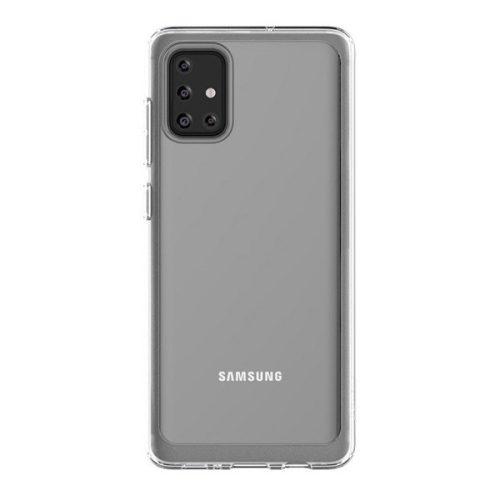Samsung Galaxy A71 SM-A715F, Műanyag hátlap védőtok, szilikon belsővel, átlátszó, gyári