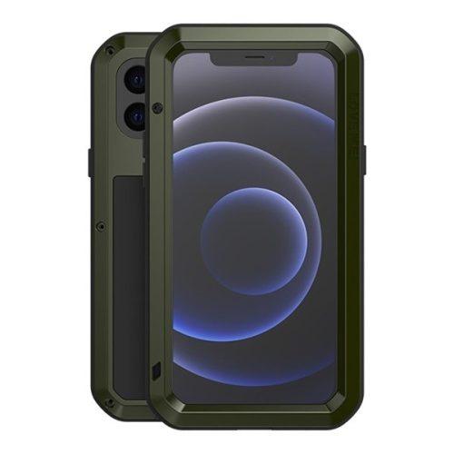 Apple iPhone 12 Mini, Szilikon tok, Love Mei Defender, ütésálló, zöld