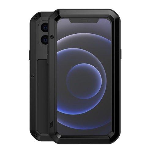 Apple iPhone 12 Mini, Szilikon tok, Love Mei Defender, ütésálló, fekete