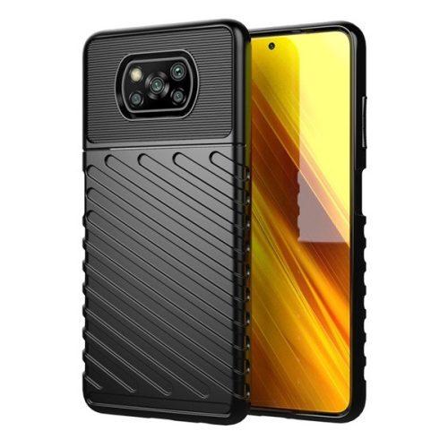 Xiaomi Poco X3 NFC, Szilikon tok, közepesen ütésálló, domború csíkos minta, fekete