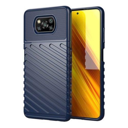 Xiaomi Poco X3 NFC, Szilikon tok, közepesen ütésálló, domború csíkos minta, sötétkék
