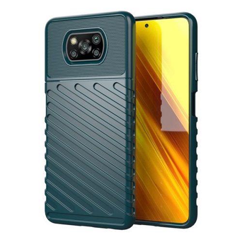 Xiaomi Poco X3 NFC, Szilikon tok, közepesen ütésálló, domború csíkos minta, zöld