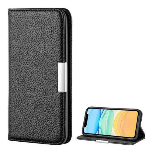 Apple iPhone 12 / 12 Pro, Oldalra nyíló tok, bőrhatású, stand, elegáns fémcsat, mágneses, fekete