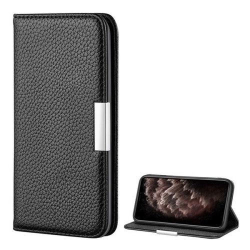 Apple iPhone 12 Pro Max, Oldalra nyíló tok, bőrhatású, stand, elegáns fémcsat, mágneses, fekete