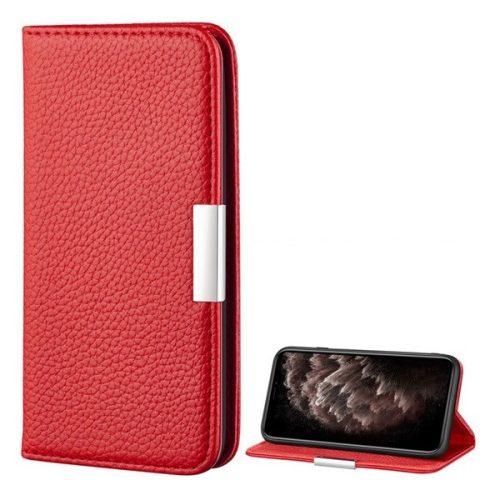 Apple iPhone 12 Pro Max, Oldalra nyíló tok, bőrhatású, stand, elegáns fémcsat, mágneses, piros