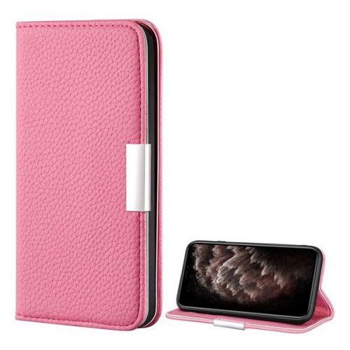 Apple iPhone 12 Pro Max, Oldalra nyíló tok, bőrhatású, stand, elegáns fémcsat, mágneses, rózsaszín