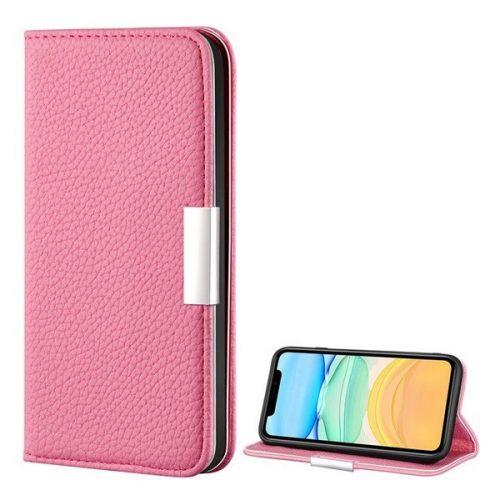 Apple iPhone 12 Mini, Oldalra nyíló tok, bőrhatású, stand, elegáns fémcsat, mágneses, rózsaszín