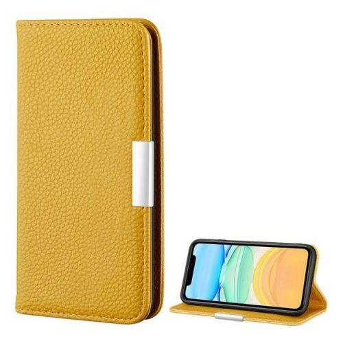 Apple iPhone 12 Mini, Oldalra nyíló tok, bőrhatású, stand, elegáns fémcsat, mágneses, sárga