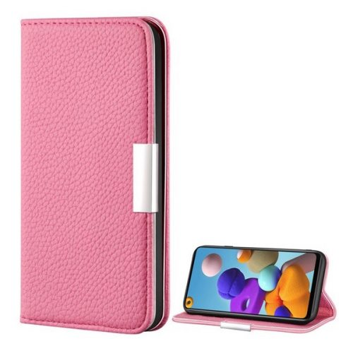 Samsung Galaxy A21s SM-A217F, Oldalra nyíló tok, bőrhatású, stand, elegáns fémcsat, mágneses, rózsaszín