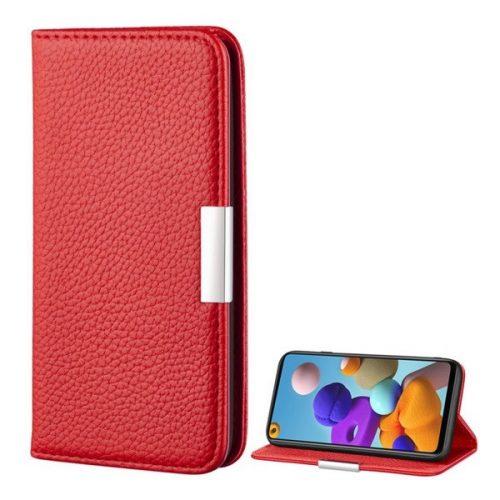 Samsung Galaxy A21s SM-A217F, Oldalra nyíló tok, bőrhatású, stand, elegáns fémcsat, mágneses, piros