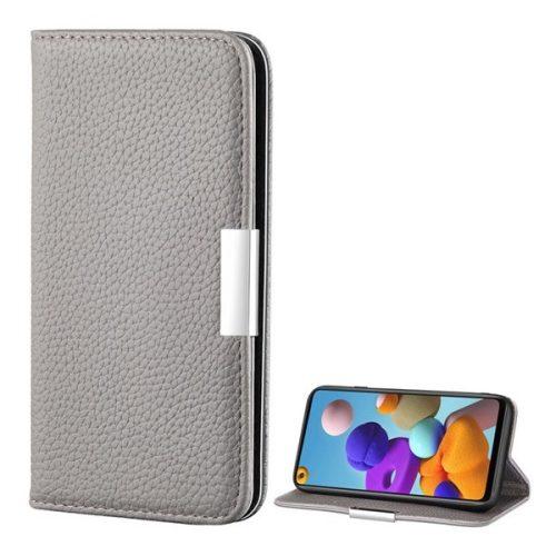 Samsung Galaxy A21s SM-A217F, Oldalra nyíló tok, bőrhatású, stand, elegáns fémcsat, mágneses, szürke