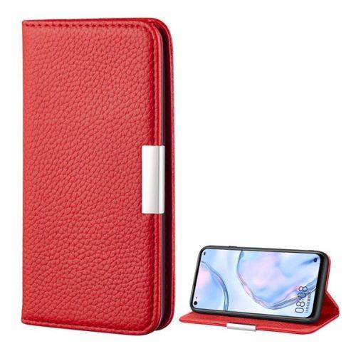 Huawei P40 Lite, Oldalra nyíló tok, bőrhatású, stand, elegáns fémcsat, mágneses, piros