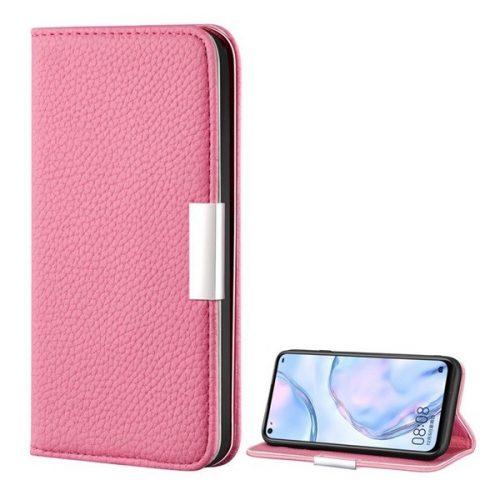 Huawei P40 Lite, Oldalra nyíló tok, bőrhatású, stand, elegáns fémcsat, mágneses, rózsaszín