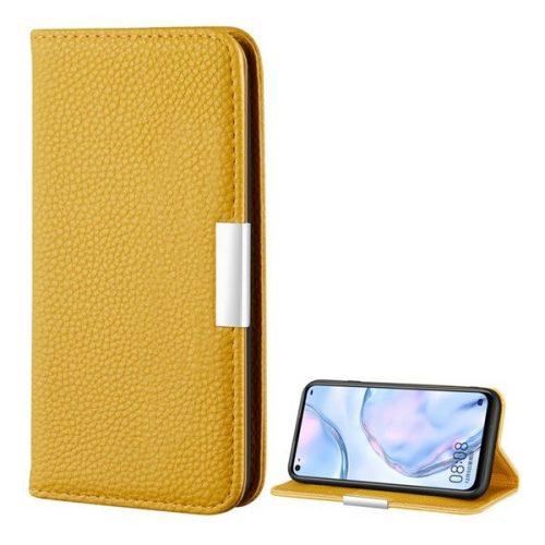 Huawei P40 Lite, Oldalra nyíló tok, bőrhatású, stand, elegáns fémcsat, mágneses, sárga