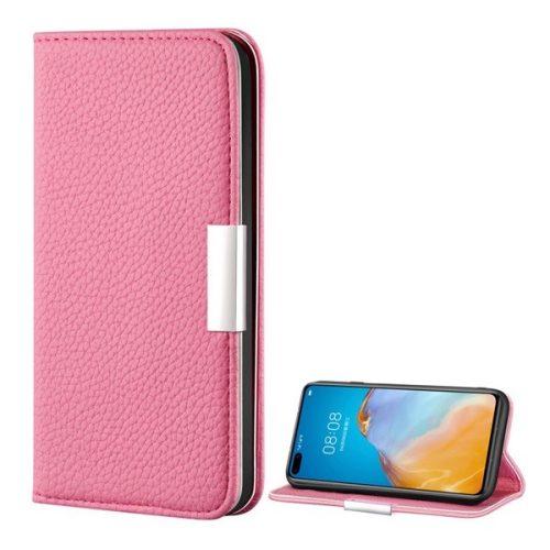 Huawei P40 Pro, Oldalra nyíló tok, bőrhatású, stand, elegáns fémcsat, mágneses, rózsaszín