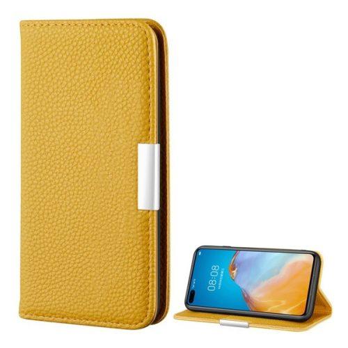 Huawei P40 Pro, Oldalra nyíló tok, bőrhatású, stand, elegáns fémcsat, mágneses, sárga
