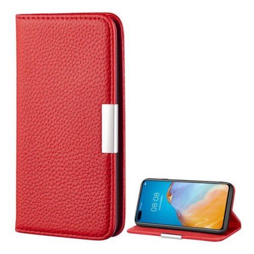 Huawei P40 Pro, Oldalra nyíló tok, bőrhatású, stand, elegáns fémcsat, mágneses, piros